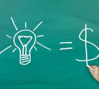 Ideas equal cash concept on green blackboard